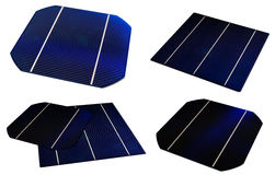 Diffrent solar cells. Diffrent kinds of solar cells, isolated Royalty Free Stock Images
