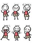 Différentes expressions d'un garçon mignon Images stock