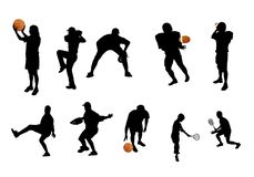 Différentes silhouettes de sports Photo stock