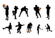 Différentes silhouettes de sports Photo stock