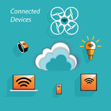 Différents dispositifs reliés Photo libre de droits