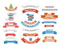 Différents rétros rubans de Noël de style réglés Images stock