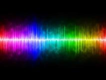 Diffusely regnbåge Soundwave med svart bakgrund vektor illustrationer