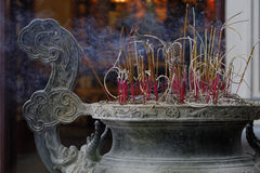 Diffuser of incense in a buddhist temple Royalty Free Stock Photos