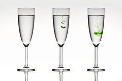 Diffusion. Three beautiful glasses depicting diffusion in action stock image
