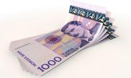 Diffusion de billets de banque de couronnes photo stock