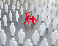 Diffusion of responsibility, bystander effect illustration Stock Photos