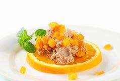 Diffusion savoureuse avec l'orange Images stock