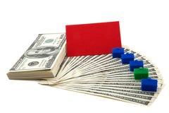 Diffusione di contanti con la scheda in bianco per testo Immagine Stock