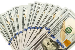 Diffusione di molte banconote di cento dollari Fotografie Stock Libere da Diritti