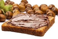 Diffusione, pane tostato e nocciole della nocciola immagini stock libere da diritti