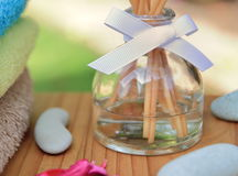 Difuser καλάμων Aromatherapy μπουκάλι σε μια όμορφη υπαίθρια ρύθμιση στο φως του ήλιου πρωινού Στοκ φωτογραφία με δικαίωμα ελεύθερης χρήσης