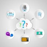 Difusión de la búsqueda de la información de las noticias con los medios Imágenes de archivo libres de regalías