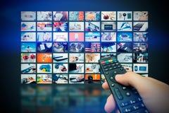 Difusión video de la televisión de la pared de las multimedias imagen de archivo libre de regalías