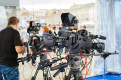 Difusión y grabación con la cámara digital Imagen de archivo libre de regalías