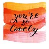 Dig beträffande så älskvärt för `, hand dragen bokstäver på vattenfärgtextur Arkivfoton