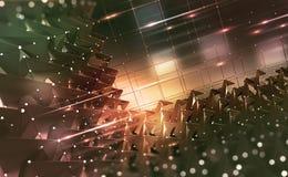 Dig Data-Konzept Informationsflüsse in Cyberspace Blockchain-Technologie Globales Digitalnetz der Zukunft Technologische Rückseit lizenzfreie abbildung