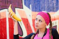 dig gillar bananen? fotografering för bildbyråer