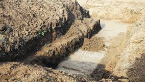 Dig ground foundation house. Dig the ground foundation house stock footage