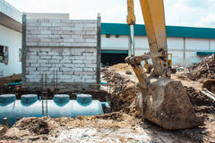 Dig a hole for sanitary tank Stock Images