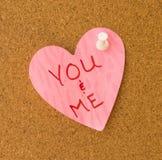 Dig & mig rosa hjärtaMemo Royaltyfri Bild