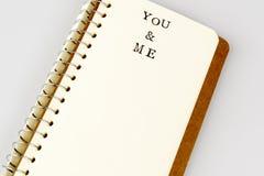 Dig och mig text i emty bok eller dagbok Arkivbilder