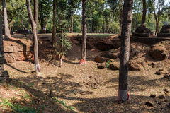 Dig Site Marked Trees by at Wat Pra Khaeo Kamphaeng Phet Province, Thailand Stock Image