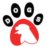 Dig and tracks - logo. Dog and tracks on a white background stock illustration