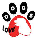 Dig and tracks - logo. Dog and tracks on a white background Stock Image