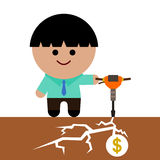 Dig for wealth. Illustration of a business man holding a jack-hammer Royalty Free Stock Images