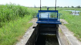 Diga al fiume di Havel accanto al villaggio Guelpe in Havelland Germania stock footage
