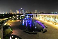 Diga del porticciolo e l'orizzonte di Singapore Fotografia Stock