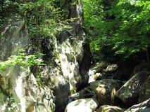 Diga della roccia sopra il fiume fotografia stock
