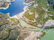 Diga di Alqueva sul fiume di Guadiana nell'Alentejo, Portogallo Fotografia Stock