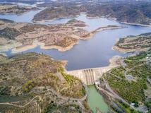 Diga di Alqueva sul fiume di Guadiana nell'Alentejo, Portogallo Fotografie Stock Libere da Diritti