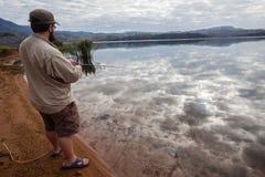 Diga di Bass Fishing Cloud Mirror Reflections Fotografia Stock Libera da Diritti