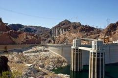 Diga di Hoover e nuova costruzione di ponticello Fotografia Stock Libera da Diritti