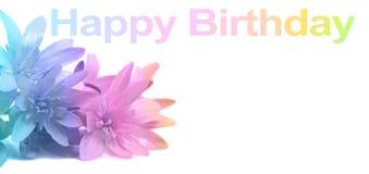 Diga el feliz cumpleaños con las flores Imagen de archivo libre de regalías