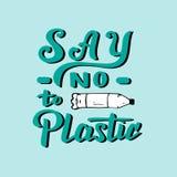 Diga não ao cartaz escrito à mão plástico Molde moderno da ecologia para a cópia, bandeira, folheto Conceito waste zero ilustração do vetor