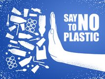 Diga não ao plástico Poluição plástica do problema Poster ecológico Bandeira composta do saco, da garrafa e da mão plásticos bran ilustração royalty free