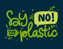 Diga não ao texto plástico - frase da rotulação da tração da mão da cor de Eco ilustração stock
