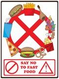 Diga o No. ao fast food ilustração stock