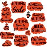 Diga olá! às etiquetas do outono Ilustração do Vetor