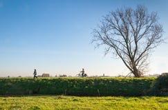 Diga olandese alla luce solare d'autunno bassa Immagini Stock Libere da Diritti