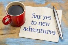 Diga sí a las nuevas aventuras - servilleta fotografía de archivo libre de regalías