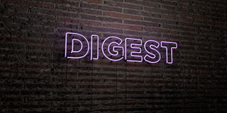 DIGEST -Realistic Neon Sign on Brick Wall background - 3D rendered royalty free stock image Stock Image