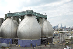 Digester eggs of the Newtown Creek Wastewater Treatment Plant Royalty Free Stock Photos