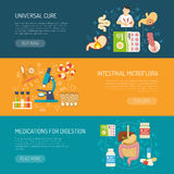 Digestion Banners Set. Digestion horizontal banners set with care and medications symbols flat  vector illustration Royalty Free Stock Photo