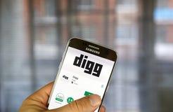 Digg app στη Samsung S7 Στοκ φωτογραφία με δικαίωμα ελεύθερης χρήσης