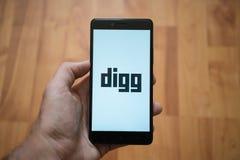 Digg logo on smartphone screen Stock Photography